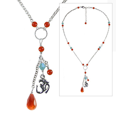 Carnelian Om Necklace