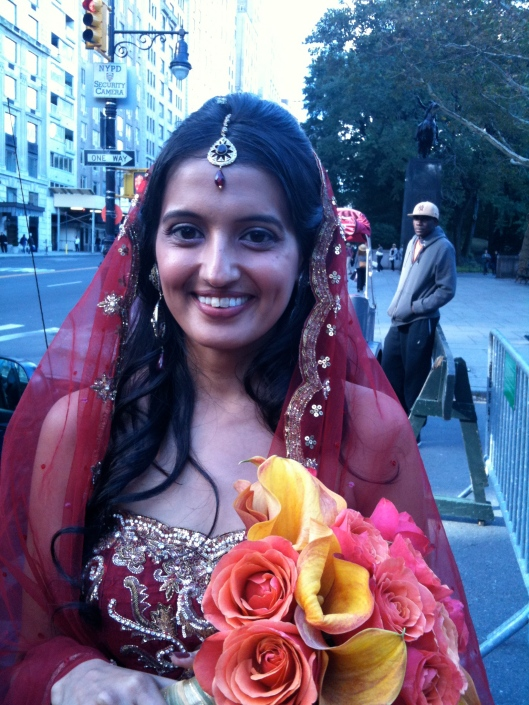 The beautiful bride and her flowers before the ceremony....
